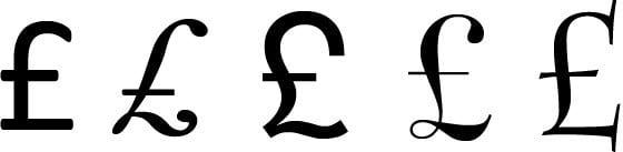 Symbol funta GBP £